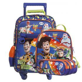 Kit Mochilete Escolar 360º Toy Story 4 Buzz & Woody Disney + Lancheira + Estojo