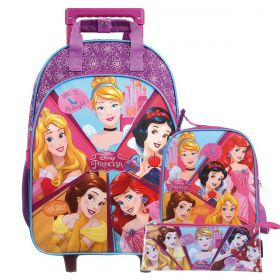 Kit Mochilete Escolar 5 Princesas Disney + Lancheira + Estojo