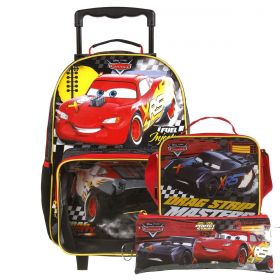 Kit Mochilete Escolar Carros Disney + Lancheira + Estojo