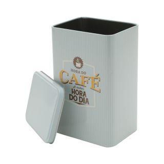 Lata Metal Retrô Expresso Coffee Better Hour Azul Pura Nostalgia
