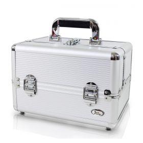 Maleta Profissional de Maquiagem Prata Alumínio + ABS BSB14069