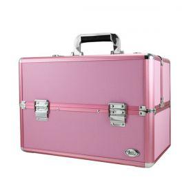 Maleta Profissional de Maquiagem Rosa c/chave Alumínio BJH17308