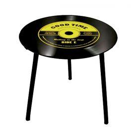 Mesa de Apoio Modelo LP - Vinil Good Time Amarelo 40x40x40cm