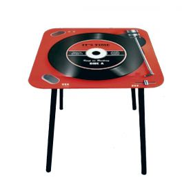 Mesa de Apoio Quadrada Vintage Keep on Rocking Red 40x40x40cm