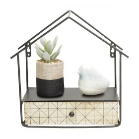 Mini Prateleira Madeira/Metal House Shape Bege/Preto Original