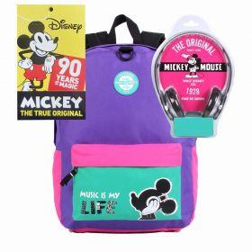 Mochila G Mickey Mouse Especial Edition 90 Anos de Magia C/ Fone De Ouvido Disney