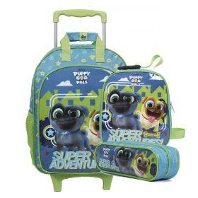 Mochilete Puppy Dog Pals c/Rod Disney + Lancheira + Estojo Duplo