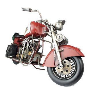 Moto Vintage decorativa de Metal Red Indian 43 cm 1:18