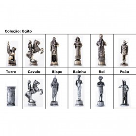 Peças de Ferro Zamac p/ Jogo de Xadrez Egípcio - Horus vs Set