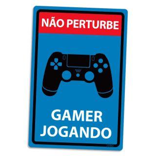 Placa Decorativa Não Perturbe - Gamer Jogando PS