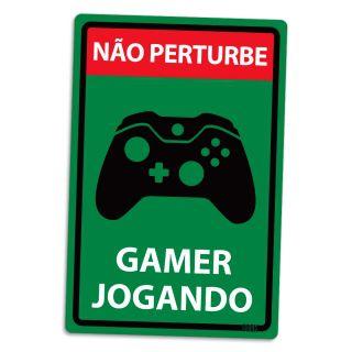 Placa Decorativa Não Perturbe - Gamer Jogando X