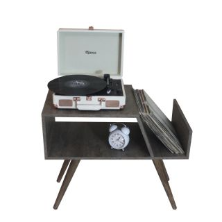 Rack para Toca Discos c/ suporte para LP´s Cool and Old Full