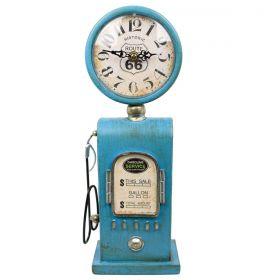 Relógio de Mesa Bomba De Gasolina Vintage Route 66 Azul