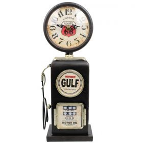 Relógio de Mesa Bomba De Gasolina Vintage Route 66 Black