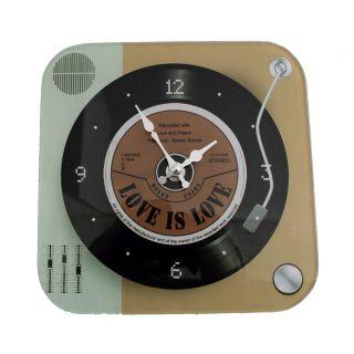 Relógio de Parede de Vidro Mod Vinil Relax Enjoy 20x20cm Retrô