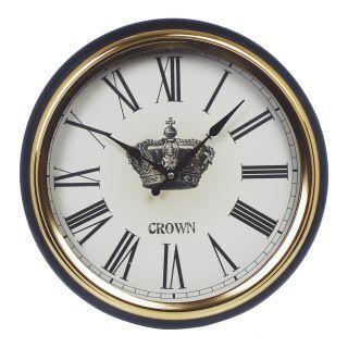 Relogio de Parede Luxo Crown Gold & Black Ø 37cm