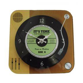 Relógio de Parede Retrô Mod Vinil It´s Time - Green Lp 20x20cm