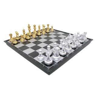 Tabuleiro de Xadrez Gold & Silver Magnético Peças Com Imã 32x32cm