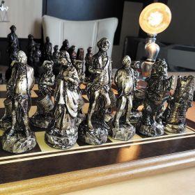 Tabuleiro de xadrez Luxo Guerra da Ind. Americana 32 Peças