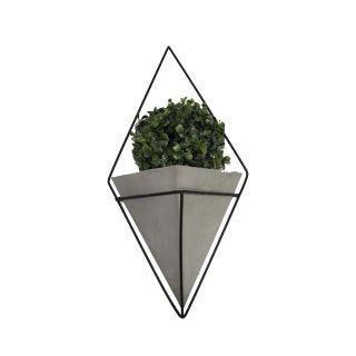 Vaso Decor Triangular Cimento Com Suporte De Ferro