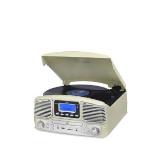Vitrola Raveo Jazz Creme Toca Disco, Bluetooth, CD, FM, USB e SD Rec