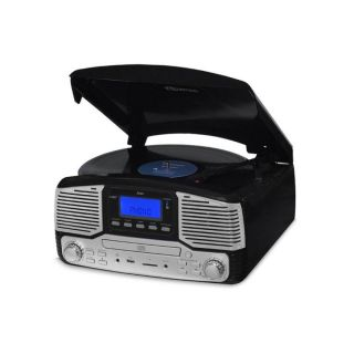 Vitrola Raveo Jazz Preto Toca Disco, Bluetooth, CD, FM, USB e SD Rec