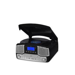 Vitrola Raveo Jazz Preto Toca Disco, Bluetooth, CD, FM, USB e SD Rec