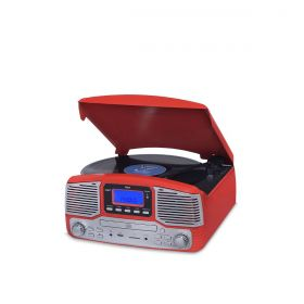 Vitrola Raveo Jazz Vermelho Toca Disco, Bluetooth, CD, FM, USB e SD Rec
