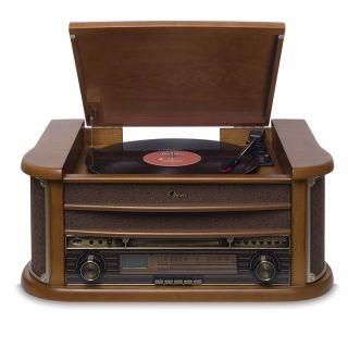 Vitrola Raveo Opera BT com Toca Discos, Bluetooth, CD, FM, Fita K7