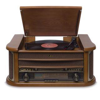 Vitrola Raveo Opera BT com Toca Discos, Bluetooth, CD, FM, Fita K7 Original