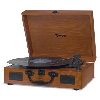 Vitrola Raveo Sonetto Wood c/ Toca Disco, bluetooth, USB Rec Selo Anatel