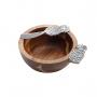 Bowl De Madeira Acácia C/ Espátula Em Zamac Mod. Abacaxi