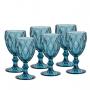 Conj. C/ 6 Taças P/ Água Diamond Azul 325ml Lyor