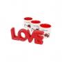 Conj Decor Beauty - Palavra Decorativa Love + 3 Porta Pincéis Hello Kitty
