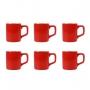 Conjunto C/ 6 Xícaras De Cerâmica Vermelhas 80ml