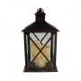 Lanterna Marroquina Decorativa C/ Velas LED Preta Envelhecida 44cm