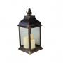 Lanterna Marroquina Decorativa C/ Velas LED Preta Envelhecida 58cm
