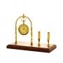 Relógio De Mesa Decorativo Em Metal E Madeira Dourado Royal Luxo