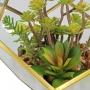 Terrário Decorativo C/ Plantas Artificiais Mod. Dodecaedro Dourado