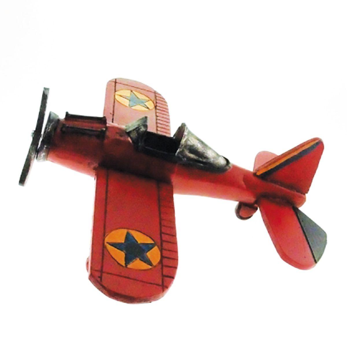 Avião de Resina Vermelho Deco