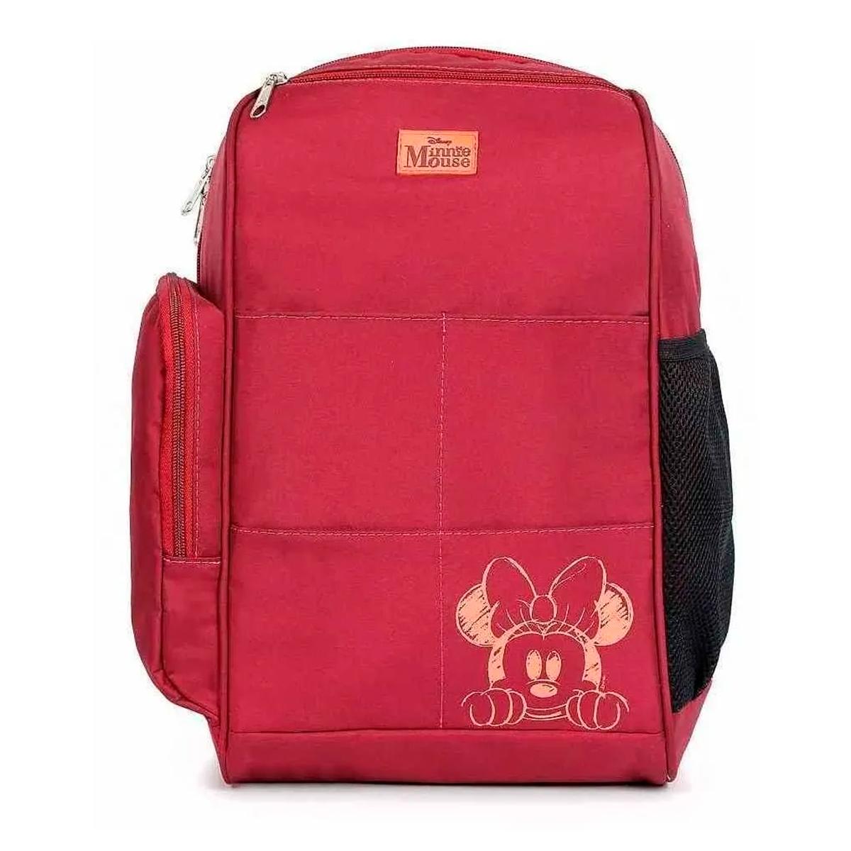 Baby Bag Mochila Maternidade C/ Trocador Disney Minnie Vinho 1450