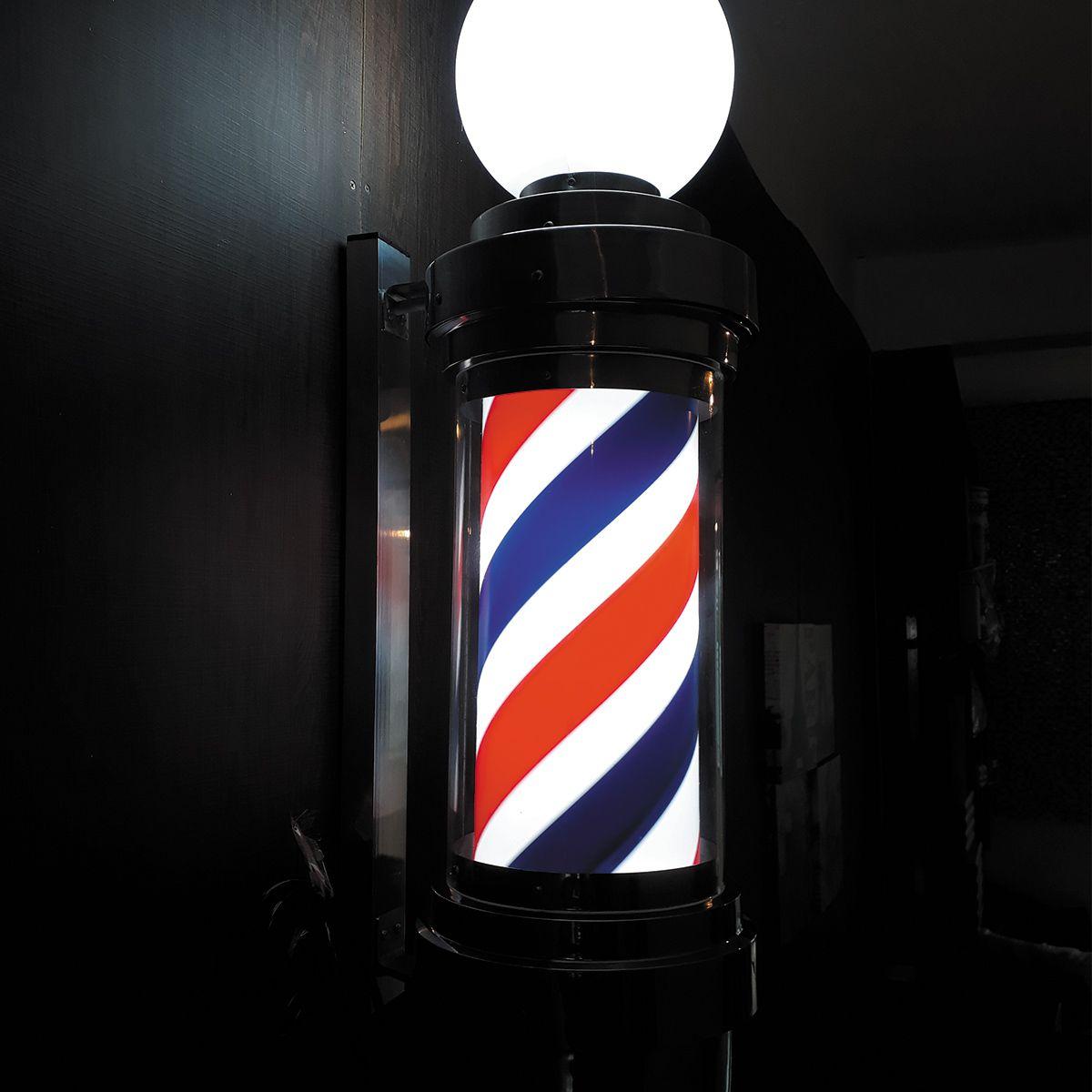 Barber Pole G Poste de Barbearia de Luxo Gira e Acende 110V