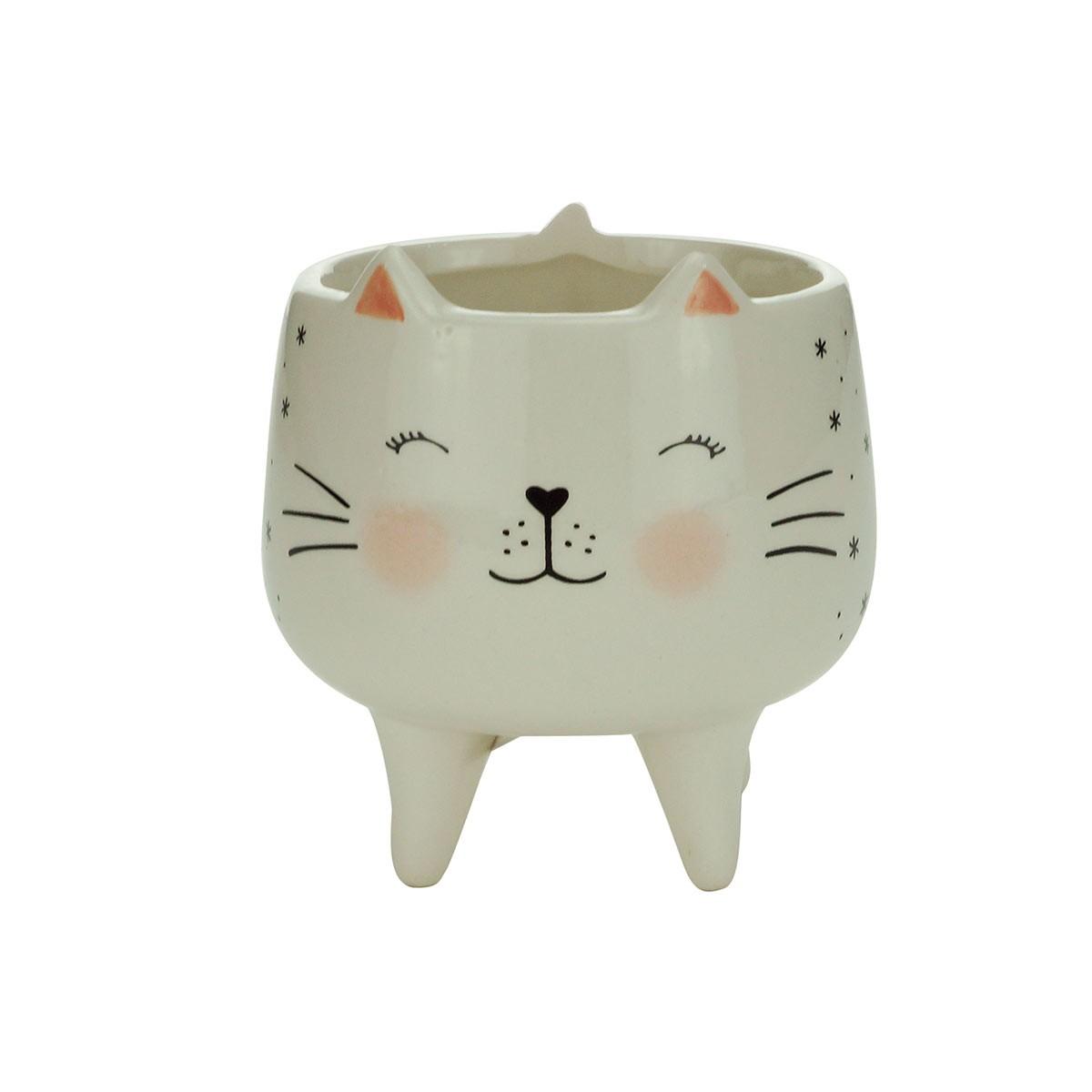 Cachepot De Cerâmica Charmy Cat Pequeno Urban