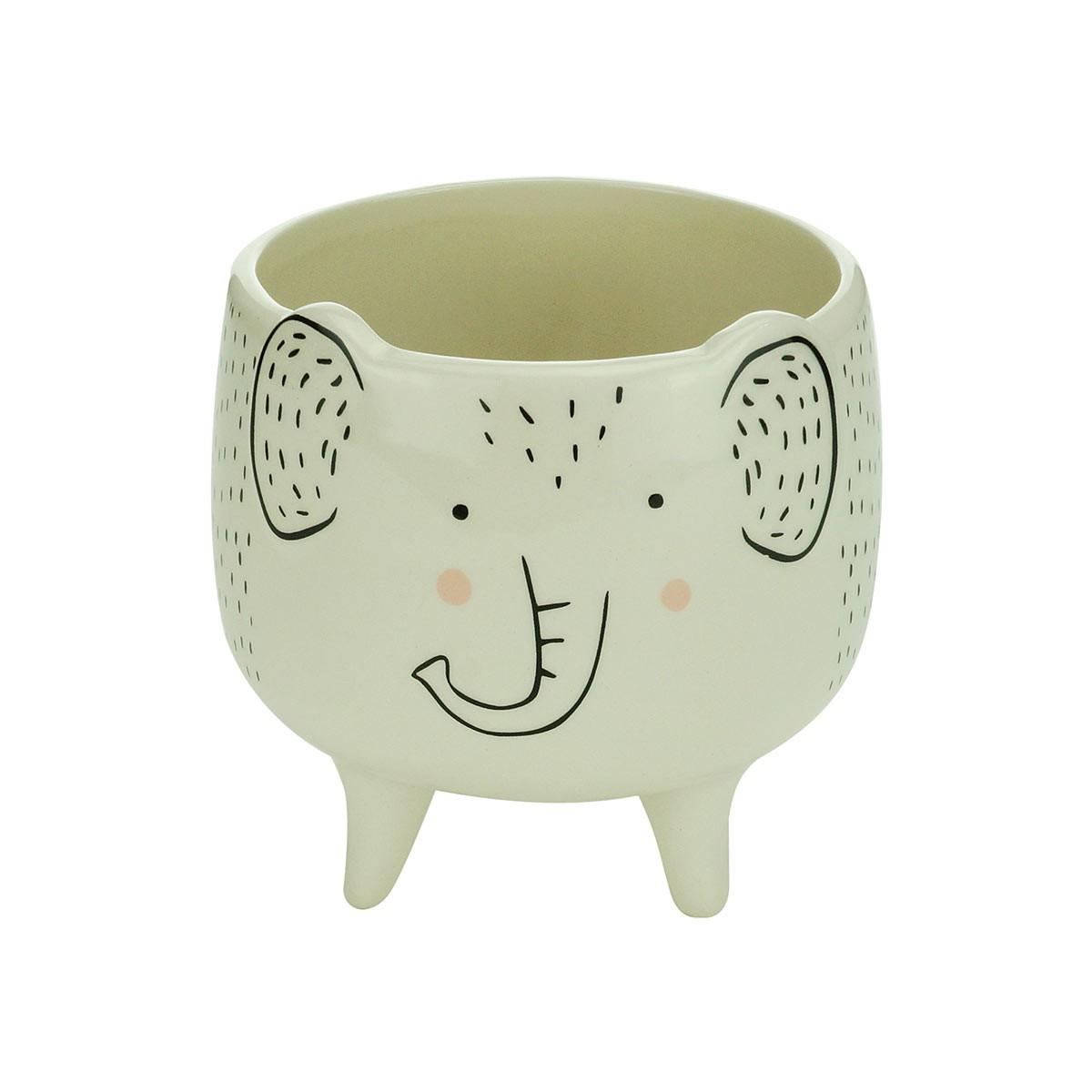 Cachepot De Cerâmica Charmy Elephant Grande Urban