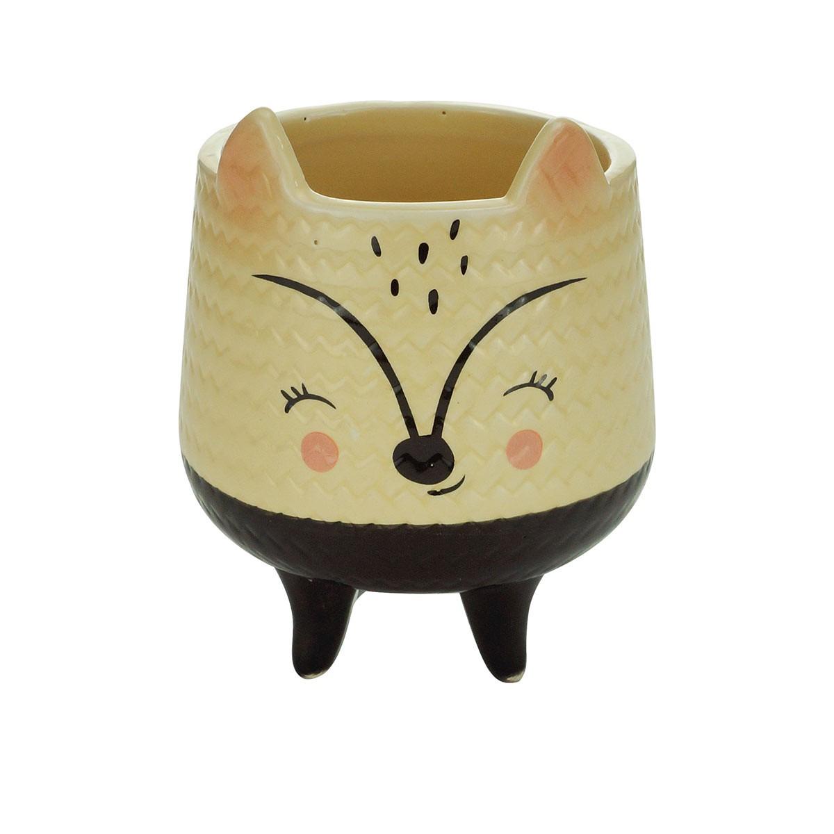 Cachepot De Cerâmica Cream Rattan Fox Pequeno Urban