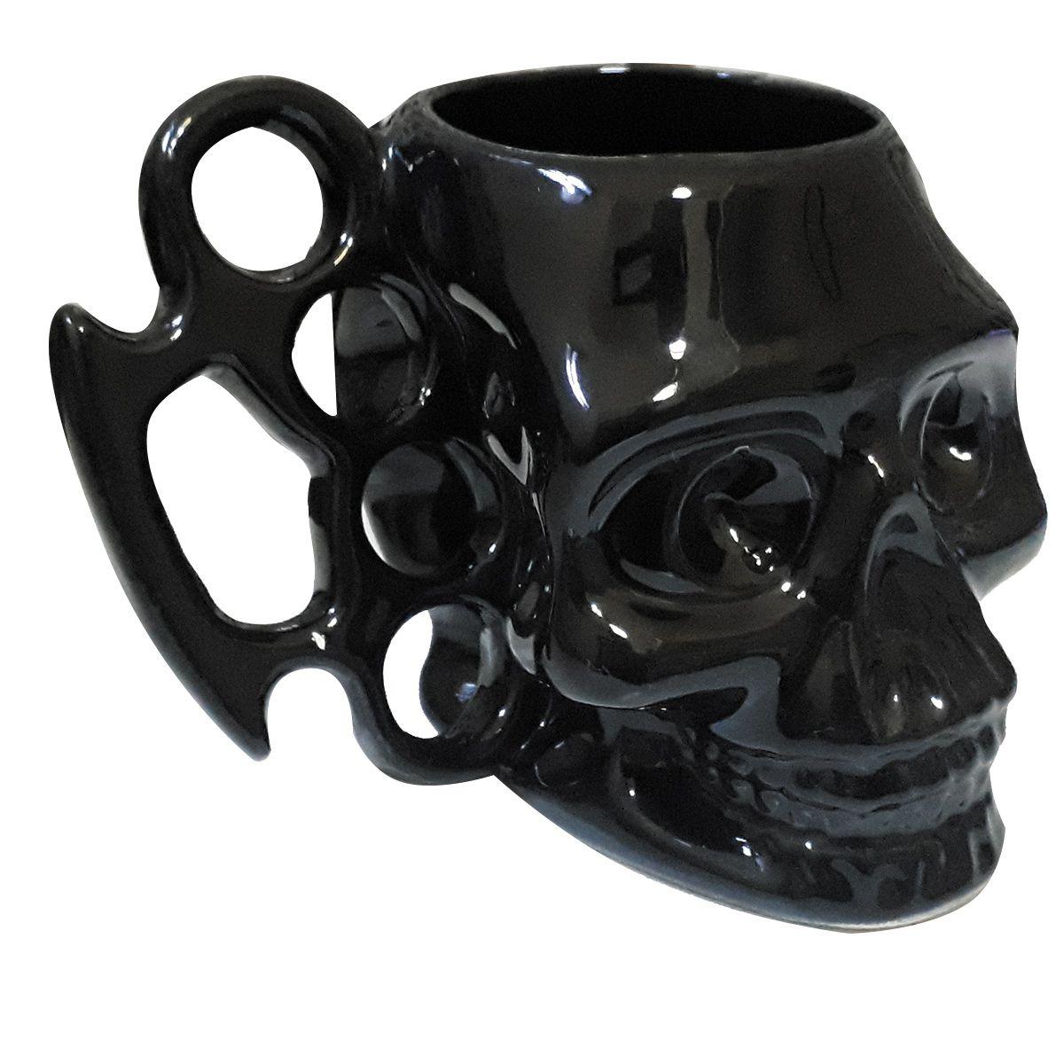 Caneca Cerâmica Caveira Soco Inglês 3D 480 ml Black & Blue