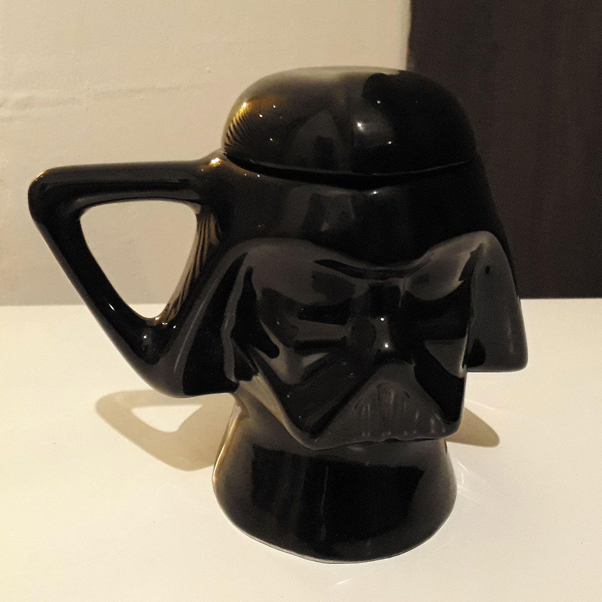 Caneca Cerâmica com Tampa Capacete Darth Vader Star Wars 3D