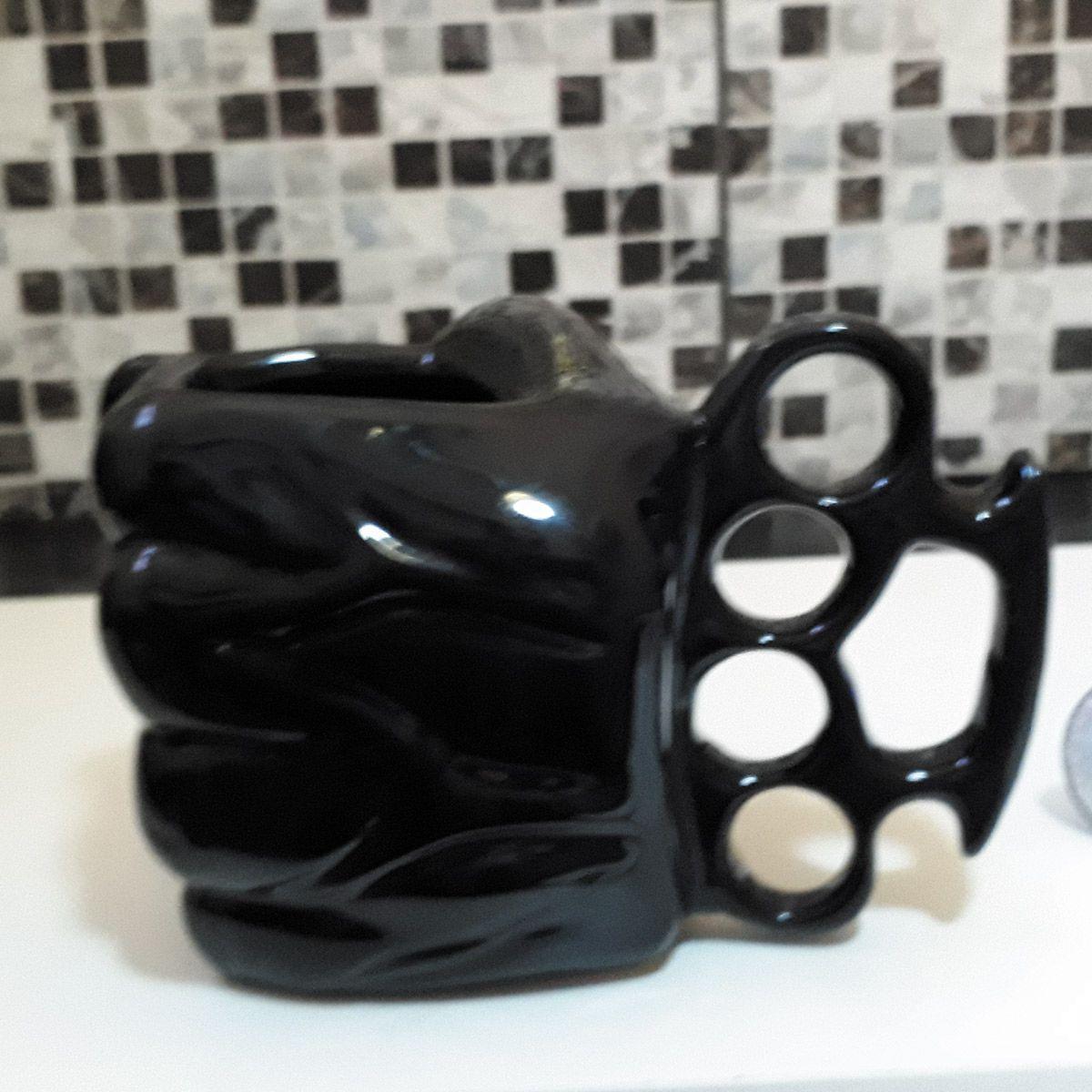Caneca Cerâmica Soco Inglês Mão 3D 400ml Black & Blue