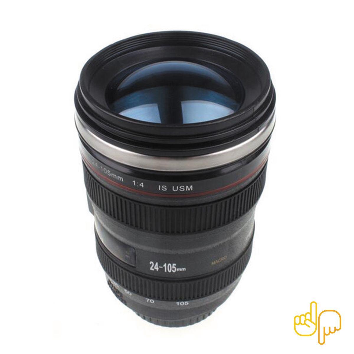 Caneca Copo Térmico em Formato de lente Câmera Fotográfica