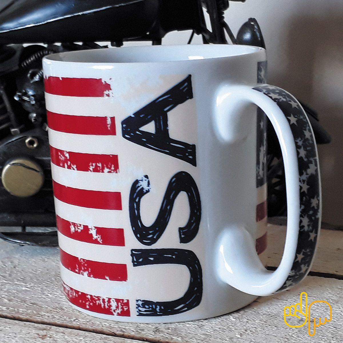 Caneca de cerâmica temática da Bandeira dos EUA